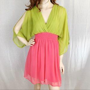 A'reve High Waist Lime & Coral Split Sleeve Dress